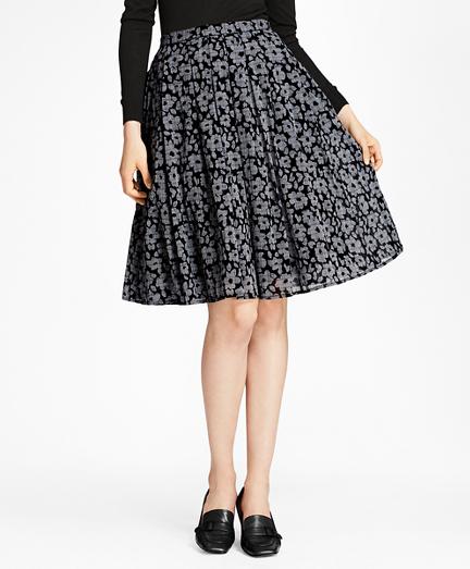Floral-Print Glen Plaid Pleated Skirt