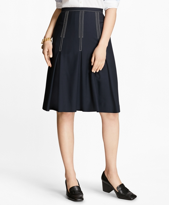 Pleated Wool Crepe Skirt Navy