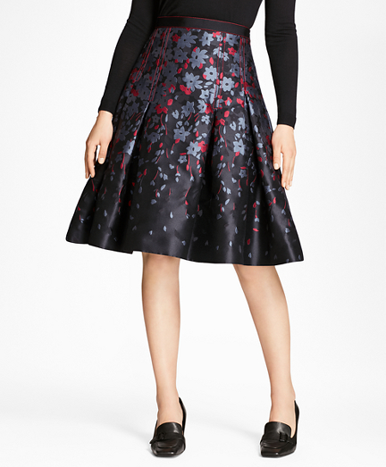 Floral Jacquard Flared Skirt
