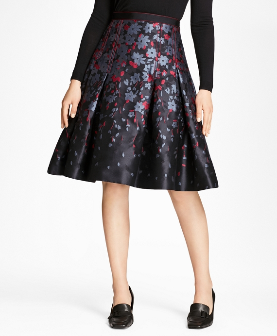 Floral Jacquard Flared Skirt Black-Multi