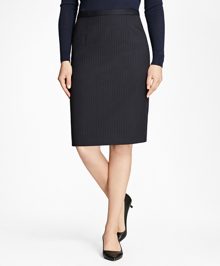 Pinstripe Stretch-Wool Pencil Skirt