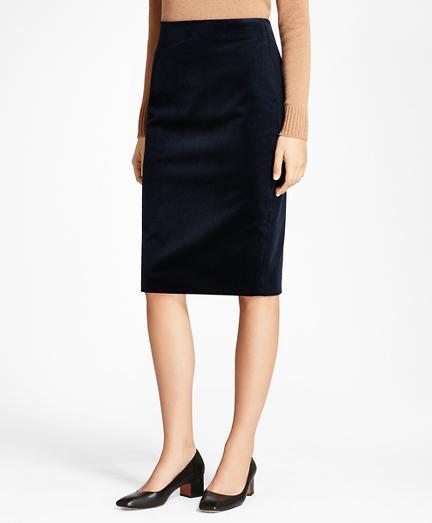Stretch Cotton Corduroy Pencil Skirt