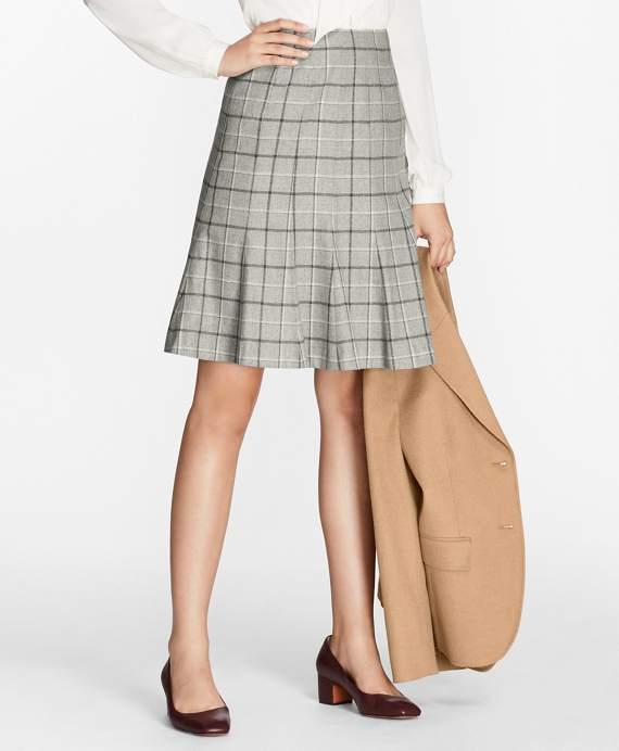 Windowpane Stretch-Wool-Cashmere Fluted Skirt