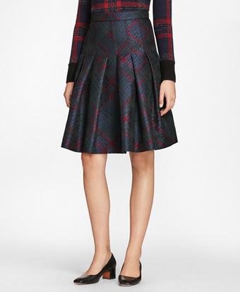 Tartan Sparkle Jacquard Pleated Skirt