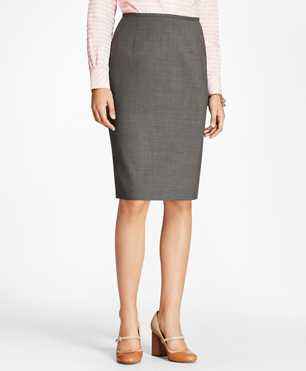 Melange Stretch-Wool Pencil Skirt