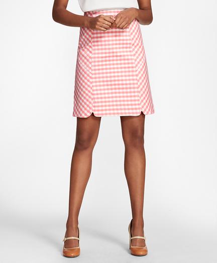 Gingham Double-Weave Skirt