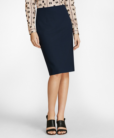 Mini-Check Wool BrooksCool® Pencil Skirt