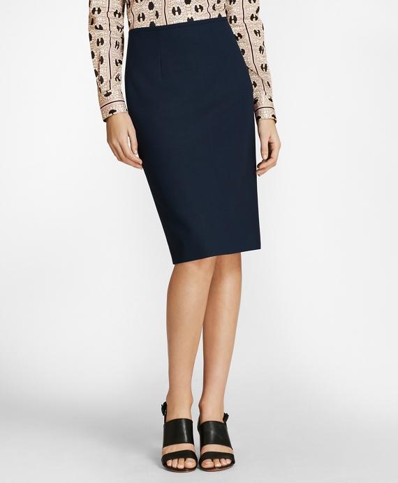 Mini-Check Wool BrooksCool® Pencil Skirt