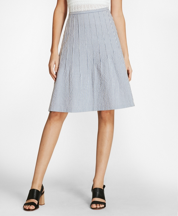 Striped Stretch Cotton Seersucker Skirt