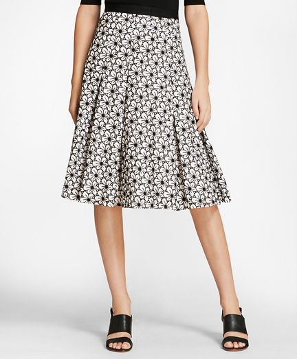 Floral Eyelet Cotton Godet Skirt