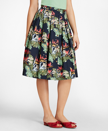 Tropical-Print Cotton Sateen Pleated Skirt