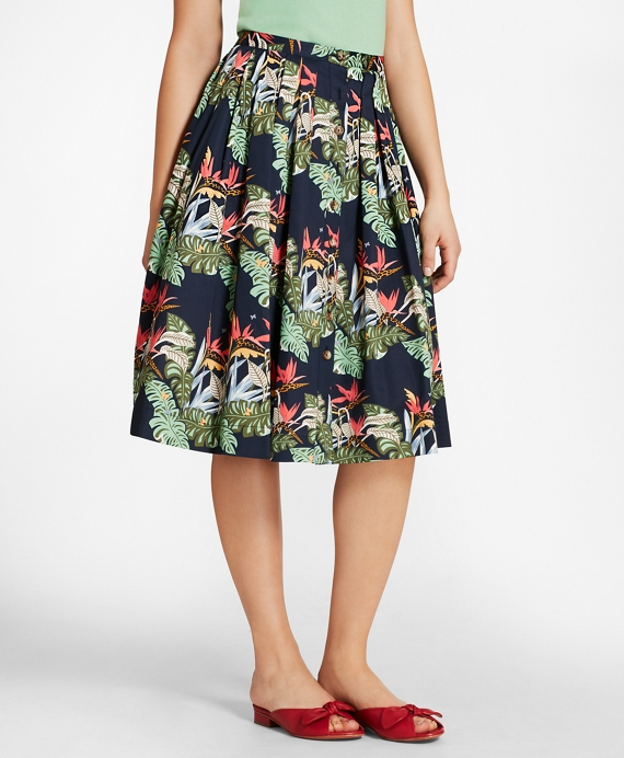 Tropical-Print Cotton Sateen Pleated Skirt Navy-Multi
