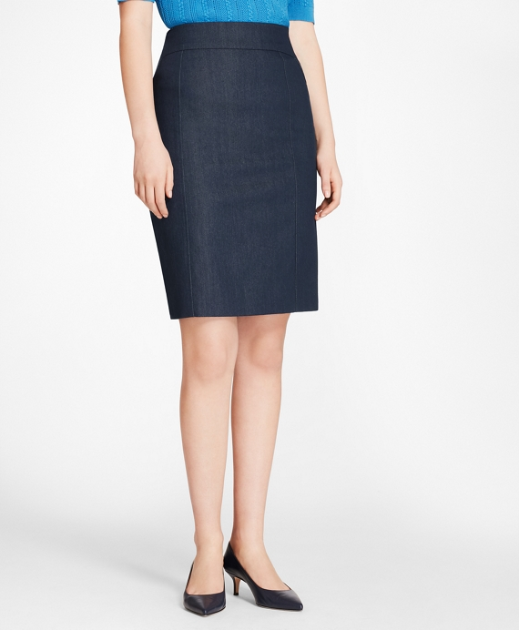 Denim A-Line Skirt Dark Blue
