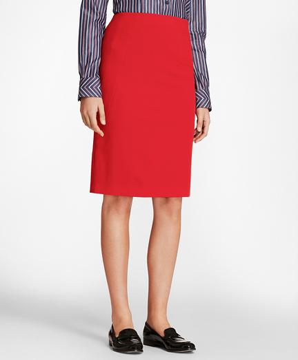 Stretch-Wool Twill Pencil Skirt