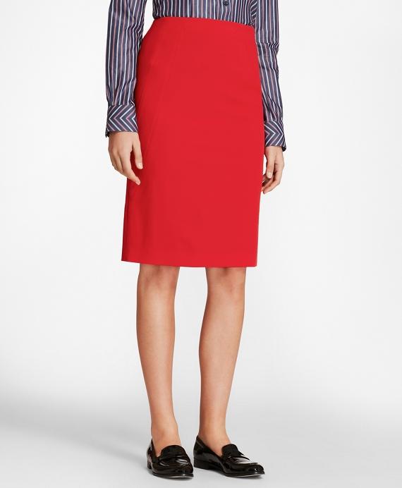 Stretch-Wool Twill Pencil Skirt Red