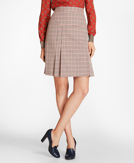 Houndstooth-Checked Stretch-Wool Pleated Skirt