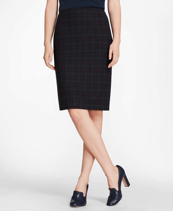 Plaid BrooksCool® Merino Wool Pencil Skirt Navy