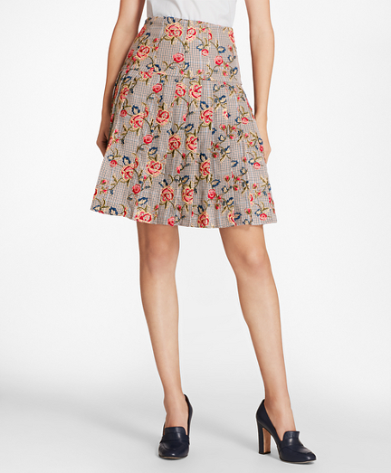 Floral-Embroidered Mini-Houndstooth Cotton Pleated Skirt