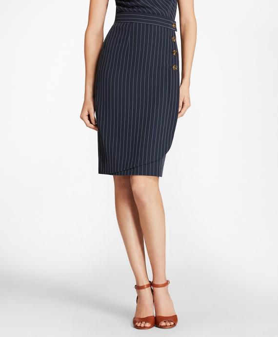 Pinstripe Faux-Wrap Slim Skirt Navy