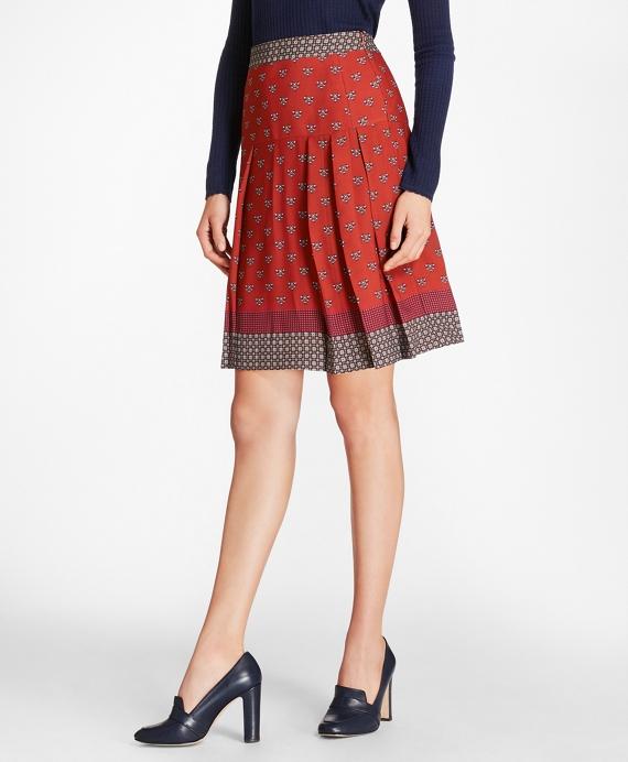 Foulard Silk Georgette Pleated Skirt Red