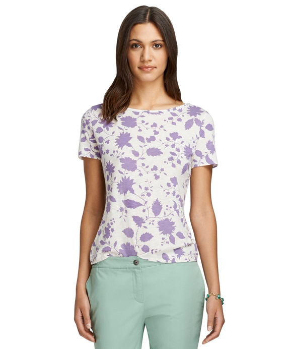 Floral Print Knit Tee Purple
