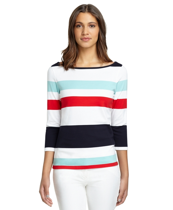 Stripe Boatneck Shirt White-Red