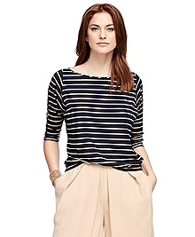 Three-Quarter Sleeve Stripe Shirt