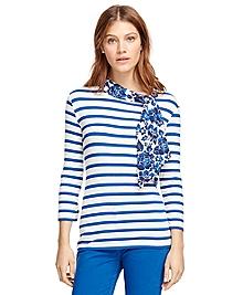 Boatneck Stripe Shirt with Silk Tie