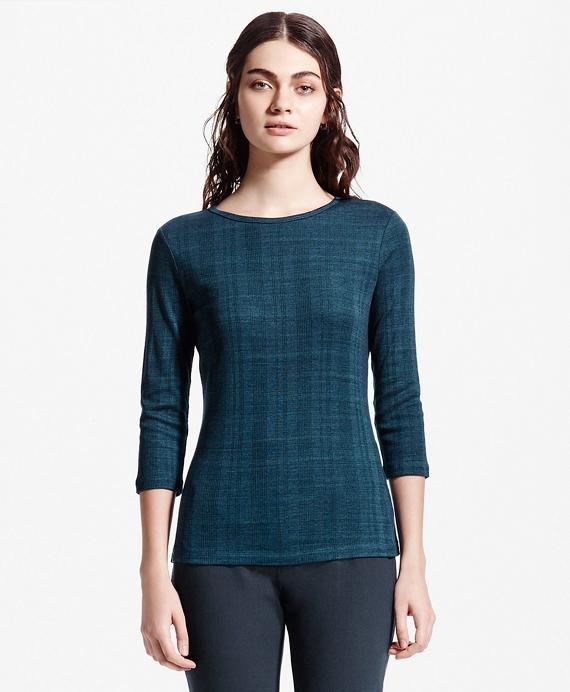 Three-Quarter-Sleeve Jersey Cotton Top Teal