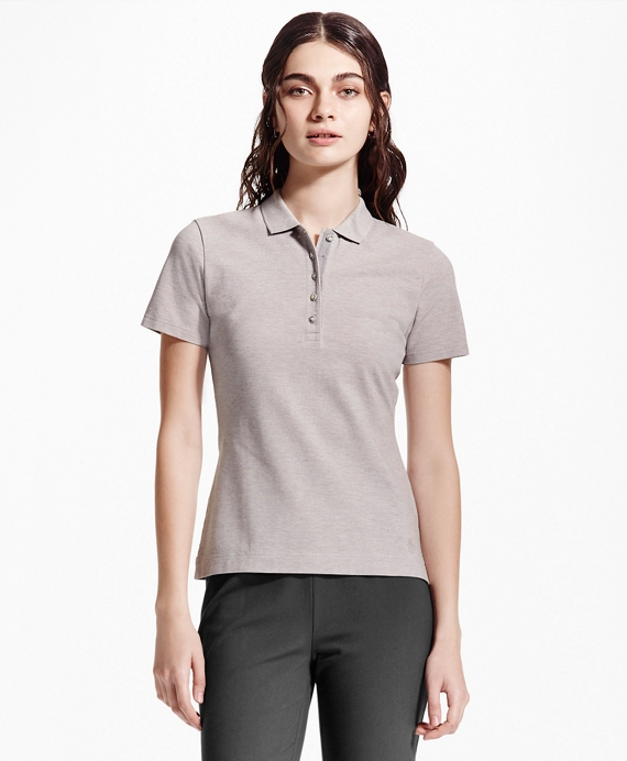 Slim-Fit Cotton-Blend Pique Polo Grey