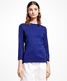 Interlocked Cotton Boatneck Top