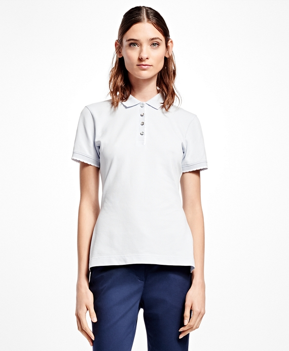 Slim-Fit Cotton-Blend Pique Polo Light Grey