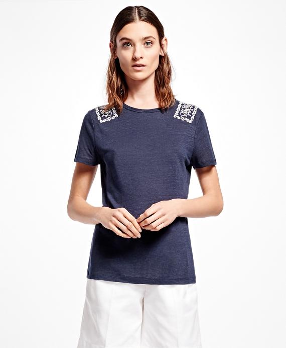 Embroidered Linen-Blend Crewneck T-Shirt Navy