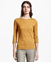 Three-Quarter-Sleeve Jersey Cotton Top