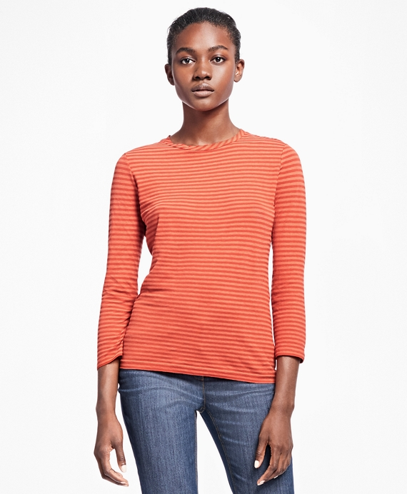 Striped Jacquard Three-Quarter T-Shirt Orange