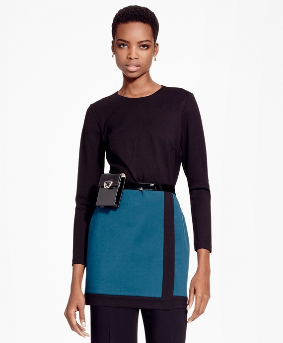 Color-Block Ponte Knit Tunic Black-Blue