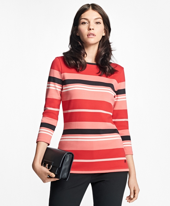 Cabana Stripe Boatneck Top Red Multi