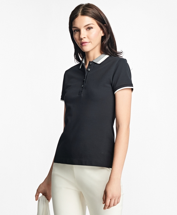 Slim-Fit Stretch-Cotton Pique Polo Black