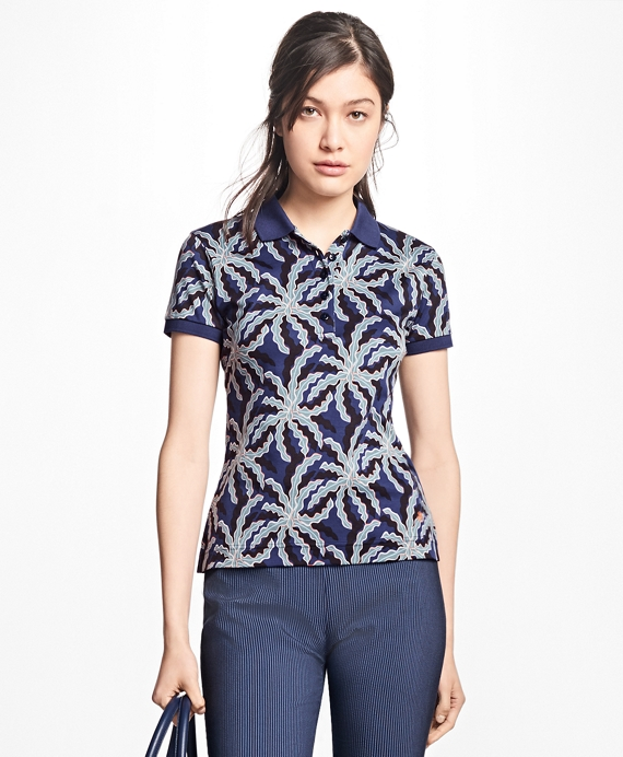 Palm-Tree-Print Pima Cotton Jersey Polo Blue