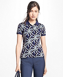 Palm-Tree-Print Pima Cotton Jersey Polo