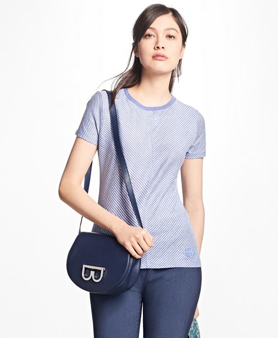 Striped Linen-Cotton T-Shirt Blue