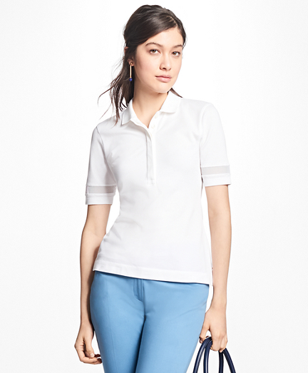 Mesh-Trimmed Stretch-Cotton Pique Polo