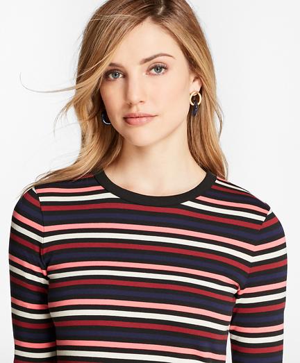 Striped Cotton Interlock Three-Quarter-Sleeve T-Shirt
