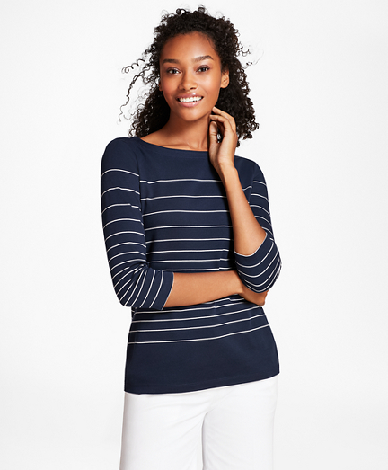 Striped Supima® Cotton Interlock Jersey Top