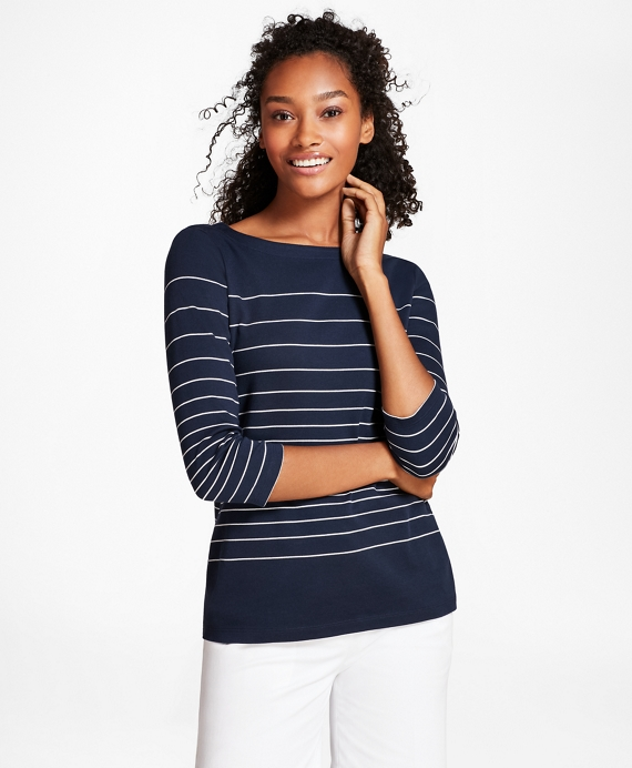 Striped Supima® Cotton Interlock Jersey Top by Brooks Brothers