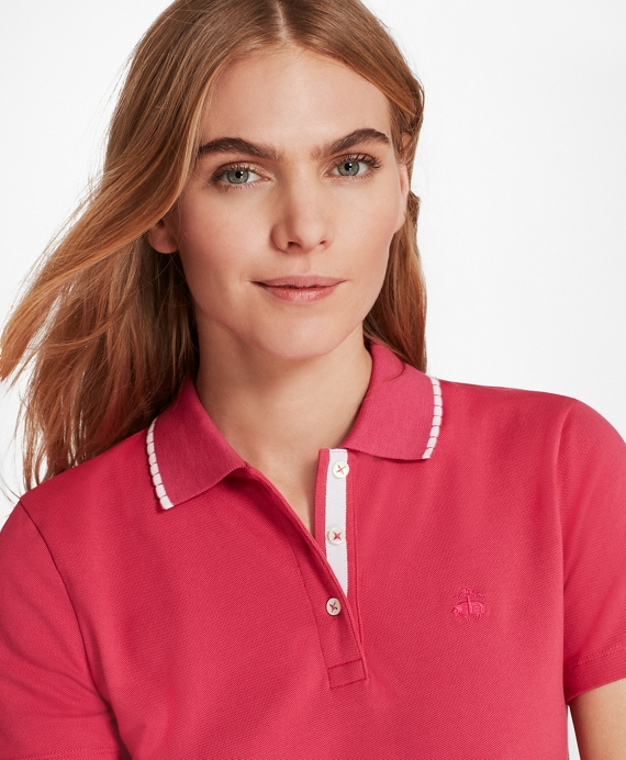 Scalloped-Collar Slim-Fit Stretch Cotton Pique Polo Pink