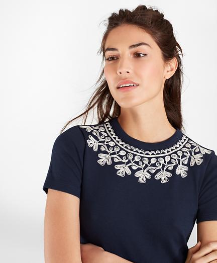 Embroidered Cotton Interlock Jersey T-Shirt