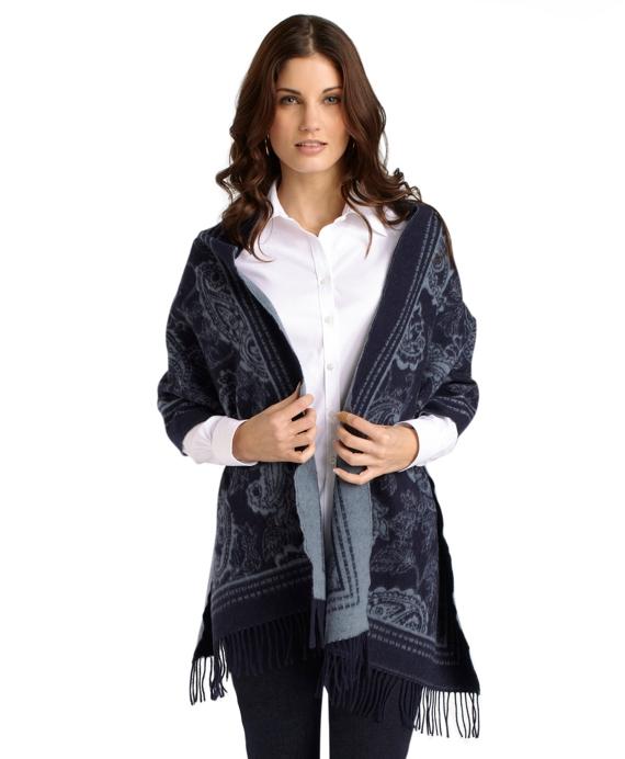 Saxxon Wool Paisley Wrap Blue