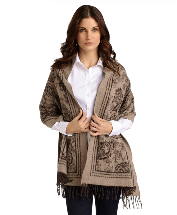 Saxxon Wool Paisley Wrap Brown