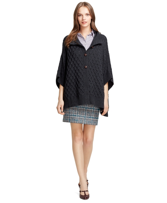 Wool and Cashmere Cable Knit Poncho Charcoal